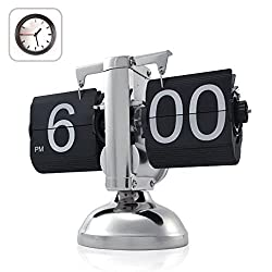 econoLED Modern Digital Retro Clock Flip Down Clock Single Stand Clock with Internal Operated Gear