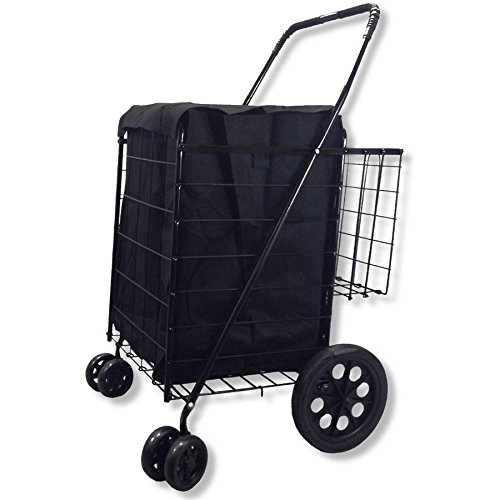 Folding Shopping Cart Double Basket with Jumbo Swivel Wheel, 360-Degree Easy Rotation, Free Liner and Net, Black with Black Liner