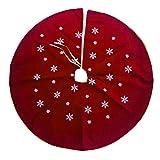 BESTOYARD Christmas Tree Skirt Red Xmas Snow Tree Base Decoration Apron Wrap 120cm
