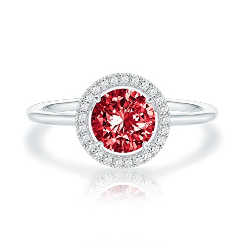 Swarovski Crystal 14K White Gold Plated Birthstone Rings | White Gold Rings for Women | Ruby ()