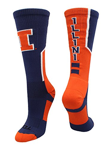 (TCK Sports University of Illinois Fighting Illini Perimeter Crew Socks (Navy/Orange/White,)