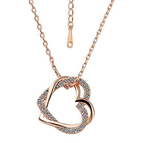 fourHeart Gorgeous 18K Rose Gold Plated Austrian Crystal Heart Pendant Necklace - 18k Pave Diamond Ring