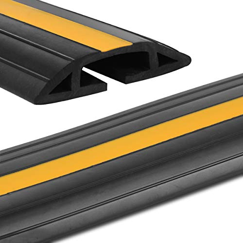 Floor Cord Protector, Stageek 4 Ft Floor Cable Cover Flexible PVC Duct Cord Protector Floor Cable Concealer Channel, Prevent Trip Hazard for Home, Office or Warehouse, Black & Yellow ()