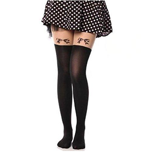 - AStorePlus Cutest Women Tights, Ladies Tattoo Cartoon Stocking Silky Tights Sexy Leggings Pantyhose, Black 5