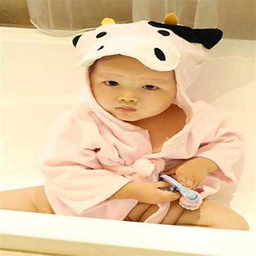 XIAOKEKE Hooded Animal Model Baby Bathrobe/Cartoon Baby Spa Towel/Personalized Children's Bathrobe/Baby Beach Towel Pink Cow S