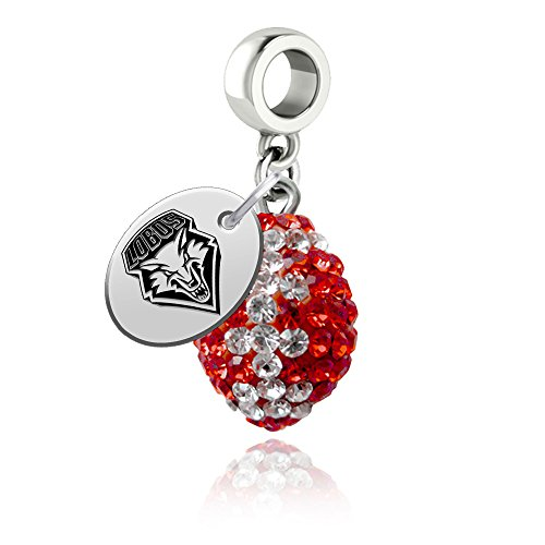 New Mexico Lobos Crystal Football Drop Charm Fits All European Style Bracelets
