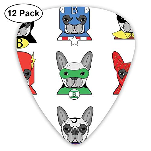 Guitar Picks 12-Pack,Bulldog Fun Cartoon Puppies In Disguise Costume Dogs With Masks Print ()