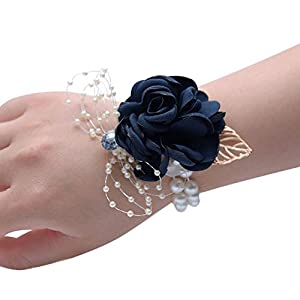 Wrist Corsage, Pack of 2 Wedding Bridal Wrist Flower Corsage Hand Flower Decor for Prom Party Wedding Homecoming 22