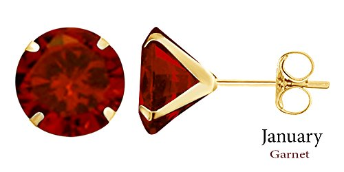 8mm Round Cut Simulated Garnet Stud Earrings in 14k Yellow Gold Over Sterling Silver