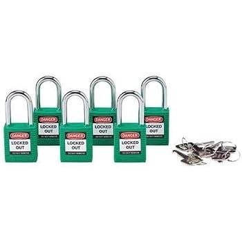 """BRADY 51345 Lockout Padlock,KD,Green,1-3//4/""""H,PK6"""