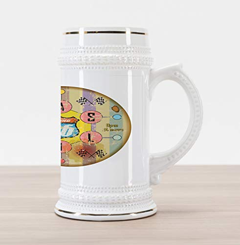 Road American Traditional Trip (Lunarable Route 66 Beer Stein Mug, Retro Gas Station Sign Destinations Travel American Road Trip Driving on Highway, Traditional Style Decorative Printed Ceramic Large Beer Mug Stein, Multicolor)