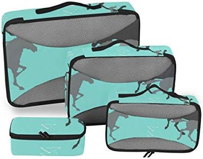 トラベル ポーチ 旅行用 収納ケース 4点セット トラベルポーチセット アレンジケース スーツケース整理 馬柄 収納ポーチ 大容量 軽量 衣類 トイレタリーバッグ インナーバッグ