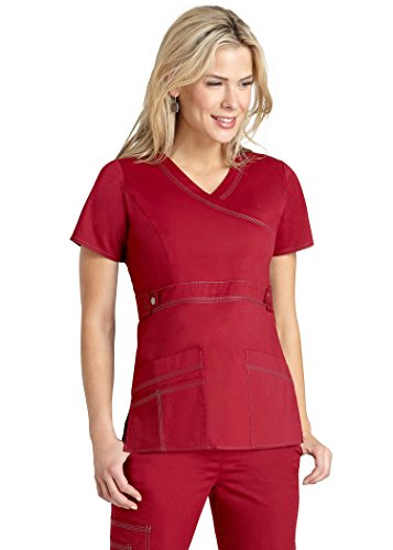 Adar Pop-Stretch Women's Junior Fit Taskwear Tab-Waist Crossover Scrub Top - 3200 - Cardinal - - In Shopping Outlets Alabama