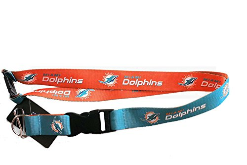 aminco NFL Miami Dolphins Reversible Lanyard, Teal/Orange