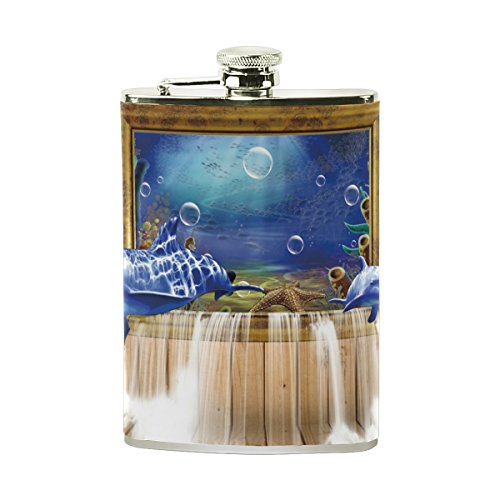 Dolphin Waterfall (Stainless Steel Flask 18/8 with Leather Wrapped Cover Dolphin Board Window Waterfall Pocket Hip Flask 8 Oz Gift for Men)