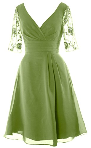 MACloth Women Half Sleeves V Neck Cocktail Dress Short Mother of the Bride Dress clover