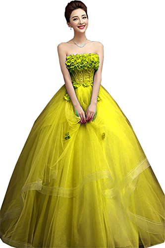 JINGDRESS Sweet Girls 15 16 Ball Gowns Pageant Quinceanera Dresses(Yellow,20W) by JINGDRESS