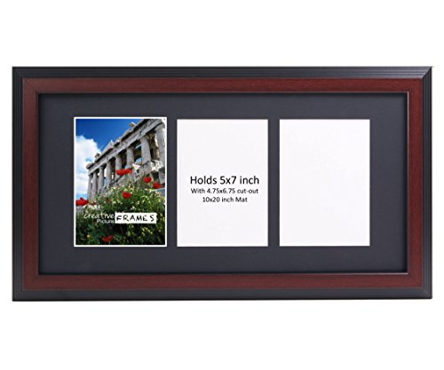 CreativePF 3 Opening Mahogany Picture Frame with Glass to Hold 5 by 7 inch Photographs Including 10x20-inch Black Mat Collage