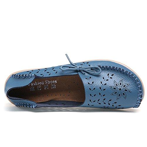 O & N Dames Dames Hol Casual Slip Op Flats Rijden Schoenen Boot Loafers Blauw