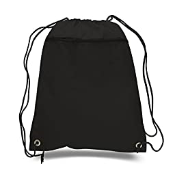 (LOT of 3) BagzDepot Promotional Durable Polyester Drawstring Bag,Backpack with Front Zippered Pocket for Gym,School or any other activities Wholesale price! (Black)