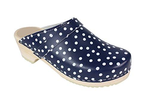 Lotta From Stockholm Sabot Suédois en cuir polka dot bleu femme
