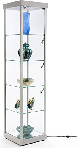 Displays2go, Showcase Tower with Glass Shelves, Aluminum, Melamine Construction – Silver (SMPLTW01SL) by Displays2go