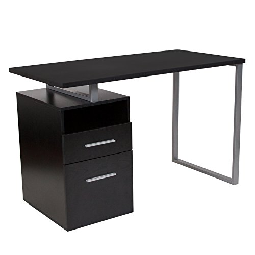 Flash Furniture Harwood Dark Ash Wood Grain Finish Computer Desk with Two Drawers and Steel Frame ()