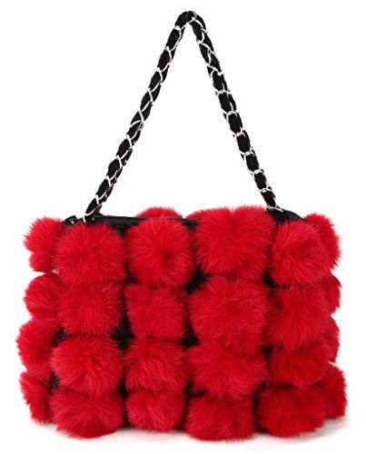Vogueearth DamenEchte Kaninchen Pelz Winter Armwärmer Handtasche Shopper Tasche Beuteltasche Rot-m EL9d1Se2hi