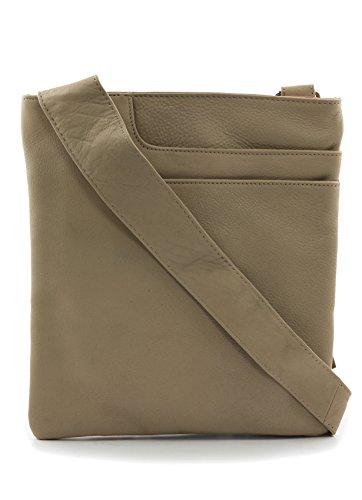 Ladies Soft Grained Leather Cross Body Pocket Bag w/ Tassel Detail (7 colours)