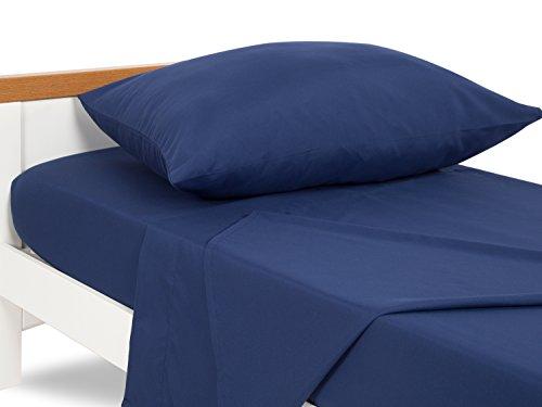 TILLYOU 3-Piece Microfiber Toddler Sheet Set (Navy Blue, Fitted Sheet, Top Flat Sheet and Envelope Pillowcase) - Crib Sheets Set Toddler Bed Set - Baby Bedding Sheet & Pillowcase Sets