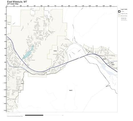 Amazon Com Zip Code Wall Map Of East Missoula Mt Zip Code Map