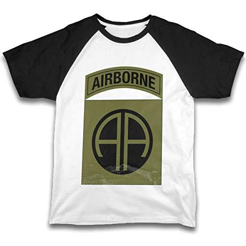 Fanniemo Kids Children's Shirts Army 82nd Airborne Division Raglan Shirt Short Sleeve Baseball Tee Black