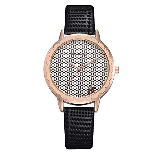 Artificial Leather Band Fashion Simple Casual Ladies Watch Bee Home Dial Leather With Strap Ladies Watch Round Analog Watch(Black )