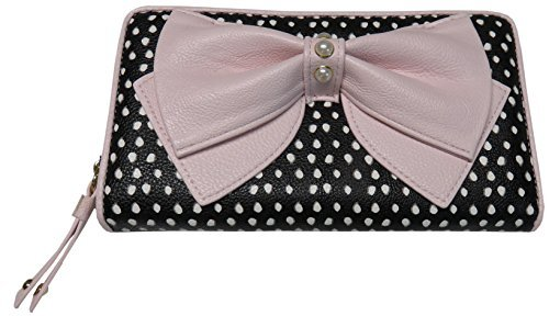 Betsey Johnson Women's Zip Around Wallet, Black/White/Pink