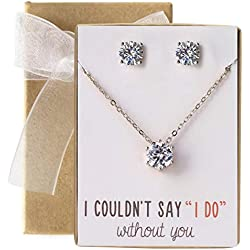 AMY O Bridesmaid Jewelry Gift Cubic Zirconia Necklace Set