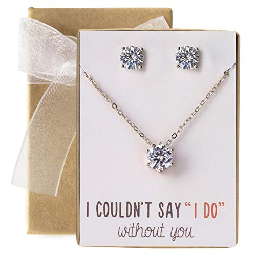 - AMY O Bridesmaid Jewelry Gift Cubic Zirconia Necklace Set