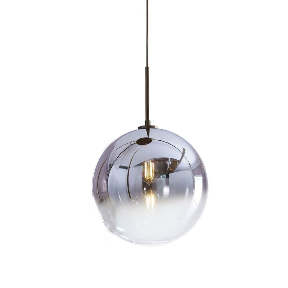TopDeng ボール ガラス ペンダントライト, E26 1 光 ハンドブロー ハンギングライト クリエイティブ 装飾 吊り下げ照明 ため ベッド レストラン キッチン-シルバー 30cm B07JNKV99J シルバー 30cm