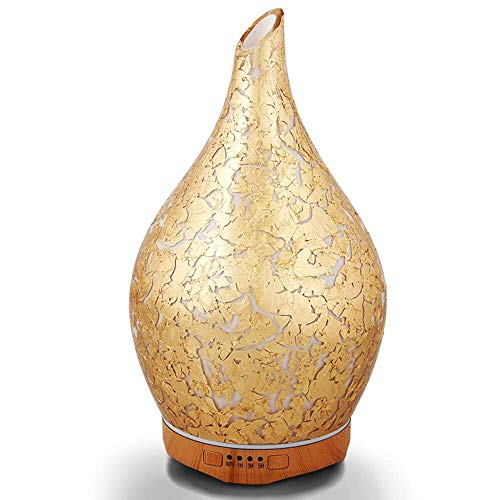 280ml Gold Plated Essential Oil Diffuser Glass Aromatherapy Ultrasonic Humidifier - 7 Color Changing LEDs, Waterless Auto-Off,Timer Setting, BPA Free for Home Hotel Yoga Leisure SPA Gift