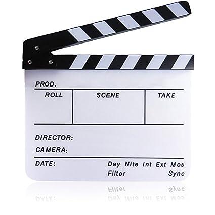 Gosear 11.7 x 9.8 Pulgadas Pizarra Acrílica Director Película Corte Tablilla Claqueta Board Pizarra con Banda Magnética,Negro y Blanco