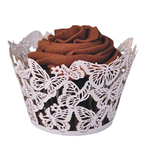 60 pcs Hollow Butterfly Paper Cupcake Wrappers Cases Party Wedding Cake Holder
