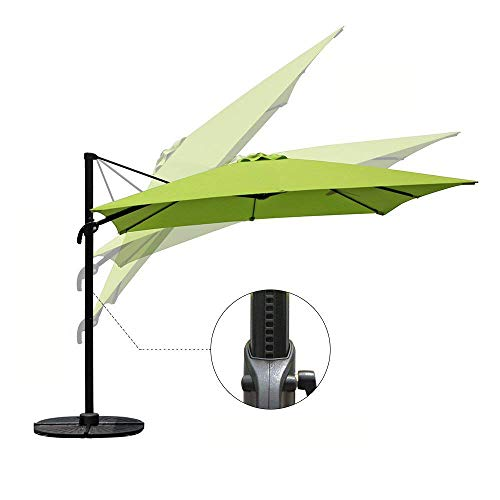 COBANA Offset Rectangular Cantilever Aluminum Patio Umbrella 10 Feet with Cross Base and 360 Degree Rotation, Lime Green