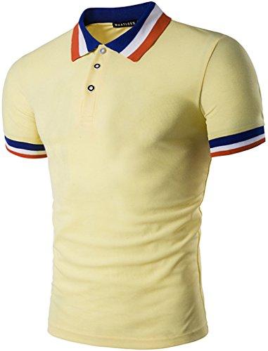 Whatlees Mens Boys Short Sleeve Contrast Stripes Collar Breathable Button Down Golf Office Polo Shirt B470-Yellow-XXL