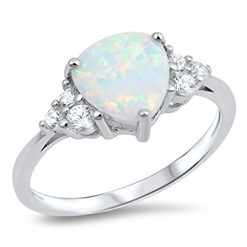 Trillion Cut Lab Created White Opal Round Cubic Zirconia Accent 925 Sterling Silver Ring (Trillion Cut Lab)