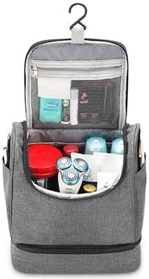 Clearence -Maxchange Hanging Toiletry Bag, Waterproof Mens Toiletry Bag with Hook, Travel Toiletry Organizer, Mens Hygiene bag,Great for Long Trip or Family Outings.(GRAY)