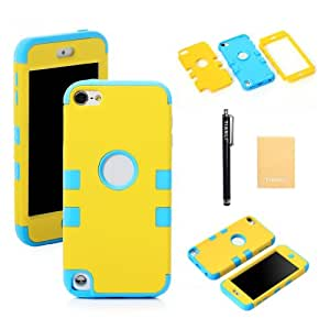 TIANLI(TM) Hybrid Defender Hard Inner Shell with Soft Silicone Skin Case for Apple iPod Touch 5G 5th Generation+[Screen Protector]+[Free Stylus]+[Cleaning Cloth] PGY Yellow Blue