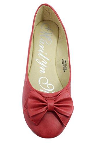 Marilyn Moda Rockabilly Pinup Rode Strik Ronde Neus Ballet Slip Op Platte Schoenen