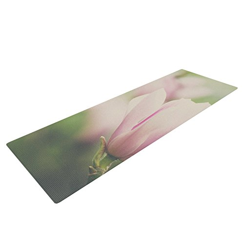 Kess InHouse Laura Evans A Pink Magnolia Yoga Exercise Mat, Pink/Green, 72 x 24-Inch