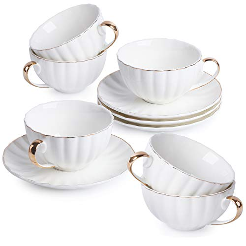 BTäT- Tea Cups and Saucers, Set of 6 (7 oz) with Gold Trim and Gift Box, Cappuccino Cups, Coffee Cups, White Tea Cup Set, British Coffee Cups, Porcelain Tea Set, Latte Cups, Espresso Mug, White Cups