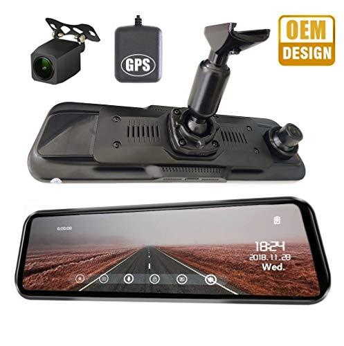 NikoMaku Mirror Dash Cam Front and Rear Backup Camera GPS