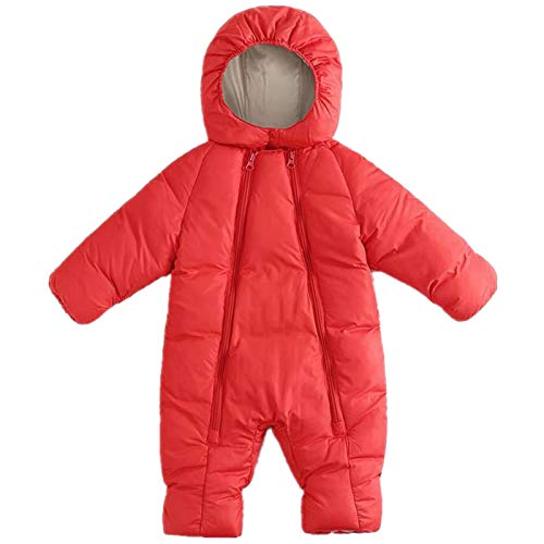 Girls' One Piece Snowsuit - Winter Baby Boys Girl's One-Piece Hood Cotton Down Snowsuit Jumpsuit Newborn Romper Red 6-15 Months